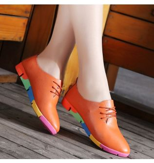 Women shoes 2021 fashion colored sole breathable genuine leather flats shoes woman tenis feminino ladies loafers shoes plus size