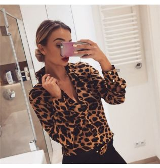 Fashion Womens Leopard Print Long Sleeve Tops and Blouses Loose OL Shirts V-Neck Party blusas femininas elegante chemise femme