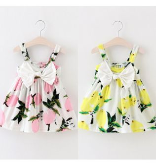 Pudcoco Baby Girl Dress UK Stock Summer Toddler Baby Girls Lemon Floral Casual Party Dress Sundress 0-3Y