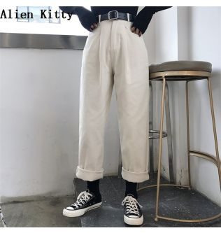 Alien Kitty Loose High Waist Thin Women Pants 2020 Spring Autumn Femme Fashion Simple Casual Solid Pant Girls  All-Match Fresh
