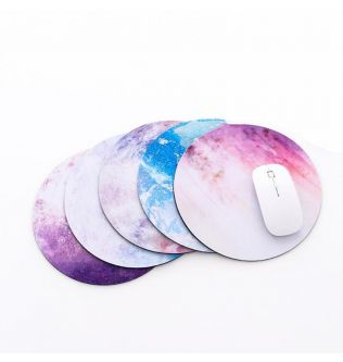 1pc Colorful Round Mouse Pad - Ultra Soft Planets Star Pattern