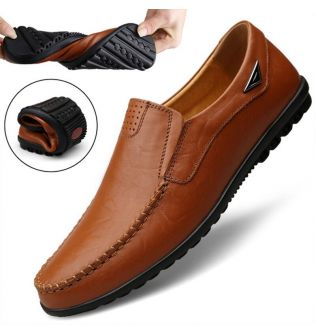Genuine Leather Men Casual Shoes Luxury Brand 2021 Mens Loafers Moccasins Breathable Slip on Black Driving Shoes Plus Size 37-47