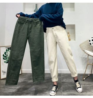 Jeans Woman Plus Size  Black Beige Green Mom Jeans High Waisted Boyfriend Jeans For Women Straight Casual Cotton 2020 Fashion