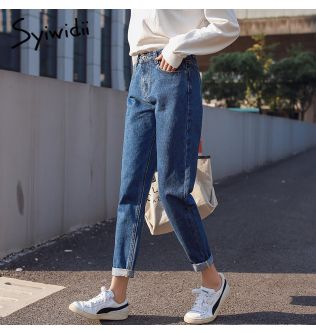 syiwidii Cotton white jeans woman high waist skinny jeans woman plus size mom jeans black 2020 spring new beige blue hot sale