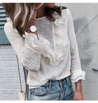 2019 Feitong White Blouse Women Spring Summer Ruffles Ladies Casual Lace Polka Dot O Neck Shirt Long Sleeve Tops Blusas Female#B