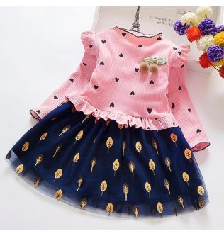 Spring Autumn Toddler Girl Dress Cotton Long Sleeve Mesh Dress Floral Bow Kids Dresses for Girls Fashion Lace Children Clothing