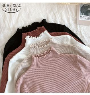 2019 Fall Winter Fashion Slim Sweater Women Turtleneck Ruched Women Sweater High Elastic Solid Sexy Knitted Pullovers 6785 50