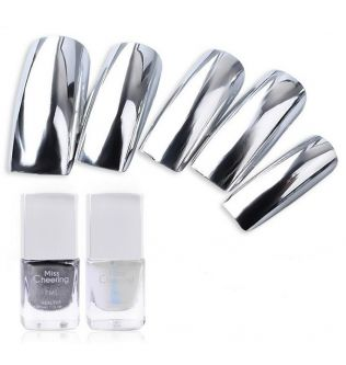 2pcs/set Non-Toxic Safe Varnish Easy Peal Off Nail Polish Silver Mirror Effect Metal Nail Polish + Base Coat Metallic Nail Art