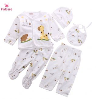 5 Pieces Pajamas Sleeper Set Newborn Infant Unisex Baby Boy Girl Clothes Animal Print Underwear Shirt and Pants 0-3M