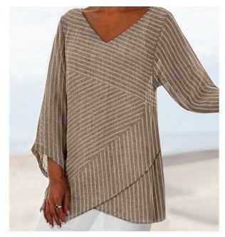 New Womens V Neck Stripe Long Sleeve Loose Shirt Ladies Asymmetric Blouses Tops Vintage Tunic Ladies Top Boho Clothing 2019