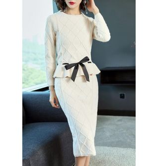 High-end Ladies Knitted Skirt Suit Female 2019 Autumn and Winter Sashes Bow tie Long-sleeved O-neck Sweater and Split Skirt Sets