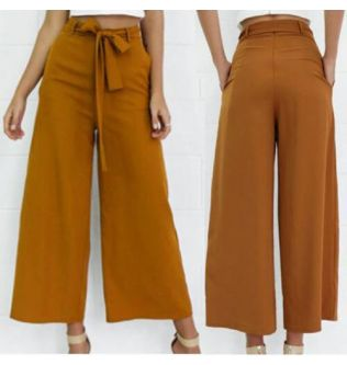 Hot Sale Fashion  High Waist Tie Waist Trousers Hot Streetwear Women Wide Leg Chiffon Pants OL Pants Long Culottes Pant