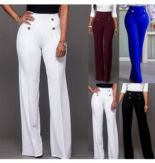 Fashion Wide Leg Pants Loose Pants Women Solid Color Wide Leg Pants High Waist Flared Trousers Slim Female Slacks Wide Leg Pant