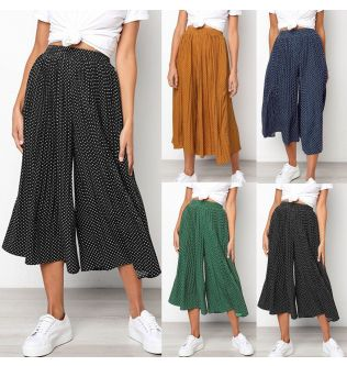 2019 S-2XL Fashion Casual Womens Polka Dot Print High Waist Pleateds Causal Wide Leg Seven Pants Loose Pants Drop Shipping Aug5