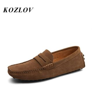Italian Loafers Men Shoes Casual Suede Leather Luxury Brand Designer Fashion Dress Shoes For Men Driving Shoes Big Size KOZLOV