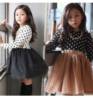 Korea Girl Dress For Girls Party Dress Long Sleeve Knitted Sweater Toddler Girl Princess Ball Gown Dress Children Clothes