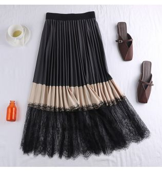 New Spring Autumn Elegant Patchwork Lace Skirt Women Vintage Panelled Striped High Waist Skirts Slim Pleated Party Skirts Mw870