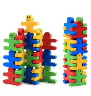 16pcs/Set Montessori Toy Wooden Educational Toys for Children Early Learning Materials Baby Intelligence Balance Villain Games