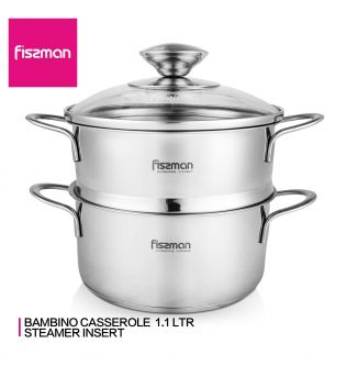 FISSMAN BAMBINO Series Casserole with Glass Lid Steamer Insert Induction Cookware