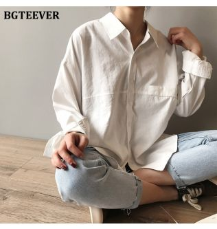 BGTEEVER Minimalist Loose White Shirts for Women Turn-down Collar Solid Female Shirts Tops 2020 Spring Summer Blouses