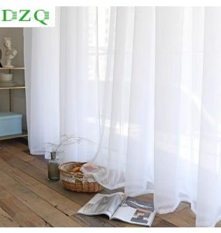 Solid White Tulle Curtains for Living Room Bedroom Sheer Curtains Modern Organza Voile Decorative Window Treatments Curtains