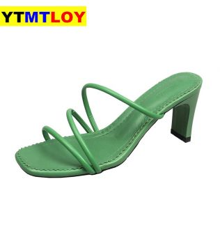 Summer Women Sandals Slippers High Heel Shoes For Sexy Peep Toe Heels Party Wedding Mules Woman  Casual   Square Heel