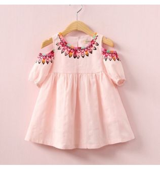Girl Dress Summer Fashion Dress Daily Casual Children's Clothes Short-sleeved Printed Ethnic Style Dress Off-shoulder Girl Dress