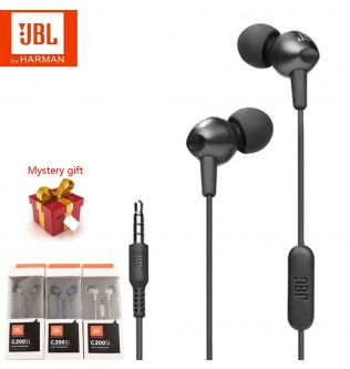 Original JBL C200Si 3.5mm Wired Stereo Earphones Deep Bass Music Sports Headset Portable Earphone Hands-free Call with Mic