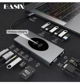 USB C HUB Type C to USB 3.0 HUB HDMI Adapter for MacBook Pro Huawei Mate 30 USB-C Splitter Type C HUB phone wireless Charger