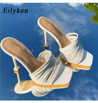Eilyken Square toe Womens Slipper shoes Summer Mules Sandals Multi knot Sexy high heel Slides Ladies Rome shoes Women Slippers