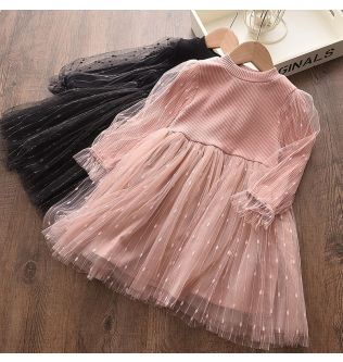 Baby Clothes Girl Dress Toddler Infant Dress Fashion Cute Sequined Puff Sleeve Knitted Veil Dress Princess Party Dress Ropa Bebe
