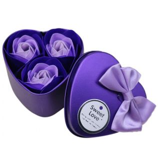 3Pcs Heart Scented Bath Body Petal Rose Flower Soap Wedding Decoration (Purple) - 200101031