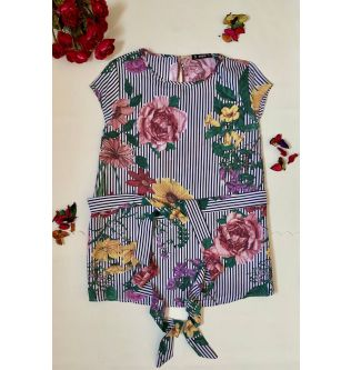 Casual Long Striped Top with Flowers All Over