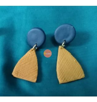 Trendina blue round casual earrings