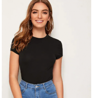SHEIN Solid Fitted Tee