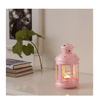 IKEA ROTERA Lantern for tealight, light pink  in/outdoor light pink 21 cm