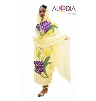 Floral Spring Sudanese Toub - Lime Yellow
