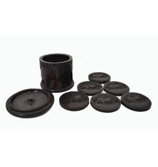 A Set Of Cup Protectors For Office Ebony Wood