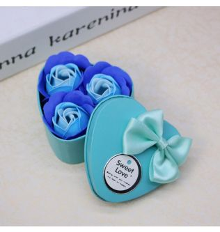 3Pcs Heart Scented Bath Body Petal Rose Flower Soap Wedding Decoration (Blue) - 200101031