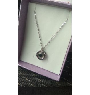 """""""100 languages I love you Projection (Circle Pendant Silver )"""" - 190201006"""