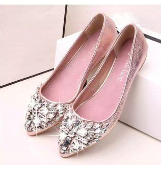 Women Flat Sparkles Pink Shoes