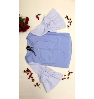 Blue Casual Top with Striped Sleeves for Women