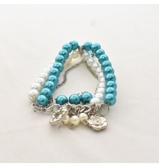 Queen Cyan Blue and White Pearl Bracelets