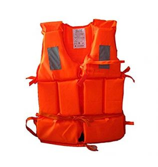 Smarty Universal Safety Professional Orange Life Jacket Floating Vest Survival Suit with a whistle for Kids Adult Swimming Kayak Boating Fishing