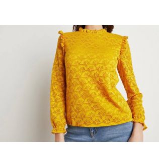 Yellow Laced Casual Long Sleeves Top