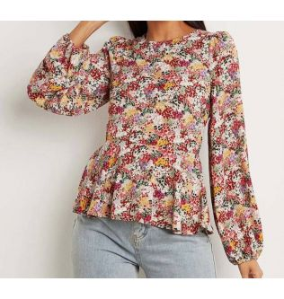 Flowery Long Sleeves Casual Top for Women