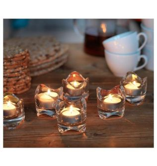 VÄSNAS Tealight holder, clear glass, 6 cm 1 piece