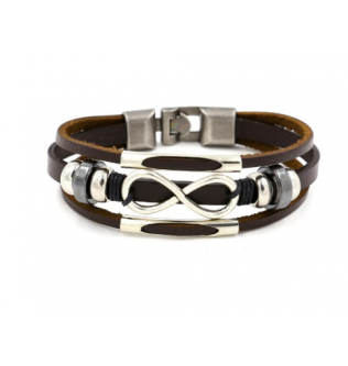 Zinc Infinity Multilayer Leather Bracelets Brown- Normal - 190601037