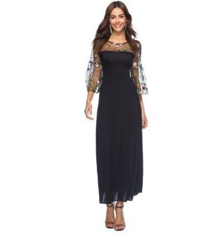 BaronHong Women's Sheer Mesh Floral Embroidery Party Maxi Dress With Pagoda Sleeves